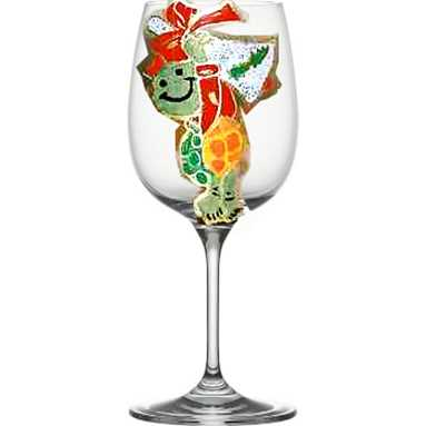 Hand painted Wine Glasses in Christmas Designs #2: Turtlewineglass